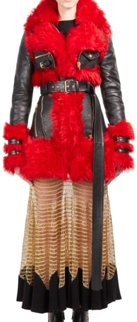 Item - Black/Red Shearling & Leather Biker Coat Size 4 (S)