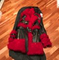 Alexander McQueen Black/Red Shearling & Leather Biker Coat Size 4 (S) Alexander McQueen Black/Red Shearling & Leather Biker Coat Size 4 (S) Image 3