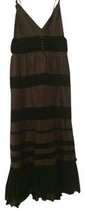 BCBGMAXAZRIA Midi Silk Chiffon Formal Stripes Thin Straps Buttons Comfortable Dress