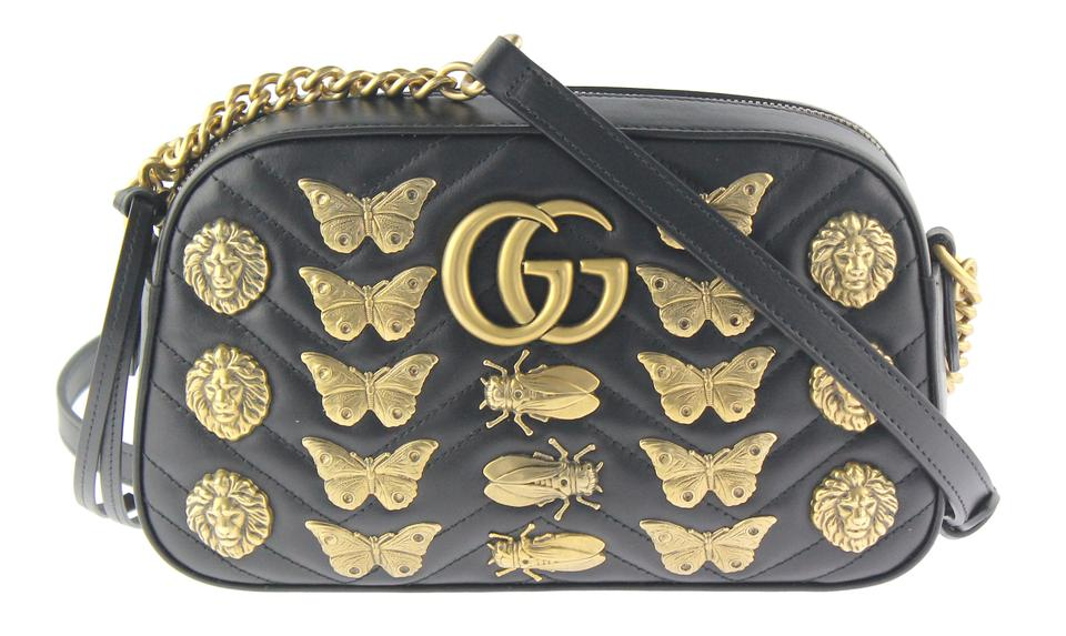 49210ad45bcd Gucci Marmont Animal Studs Black Leather Cross Body Bag - Tradesy