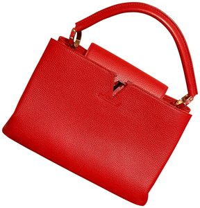 Louis Vuitton Classic Limited Edition Chic Leather Gold Hardware Tote in Red
