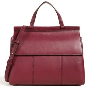 Tory Burch Vintage Leather Tote Classic Satchel in Imperial Garnet/ Deep River