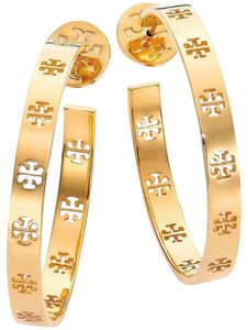 Tory Burch Gold Pierced T Logo Hoop Earrings
