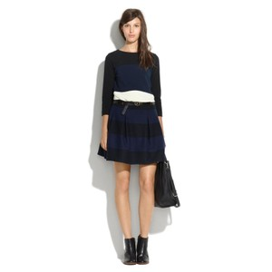 Madewell Pleated Striped Mini Mini Skirt Blue/Black