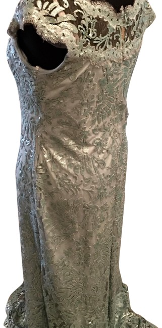 Item - Light Green Sequined Golden Globe Ready In A Fab Long Formal Dress Size 14 (L)