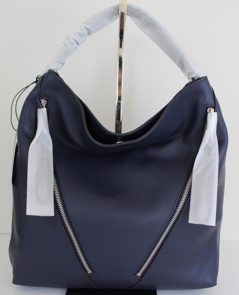 d91ae2d254d9 Rebecca Minkoff Moto Hobo Navy Silver Leather Shoulder Bag - Tradesy