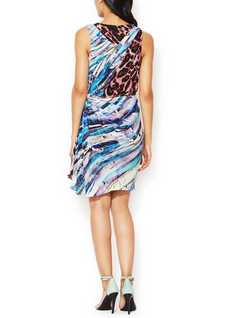 Rebecca Minkoff Silk Draped Ruched Ruffled Mini Leopard Crystal Dress