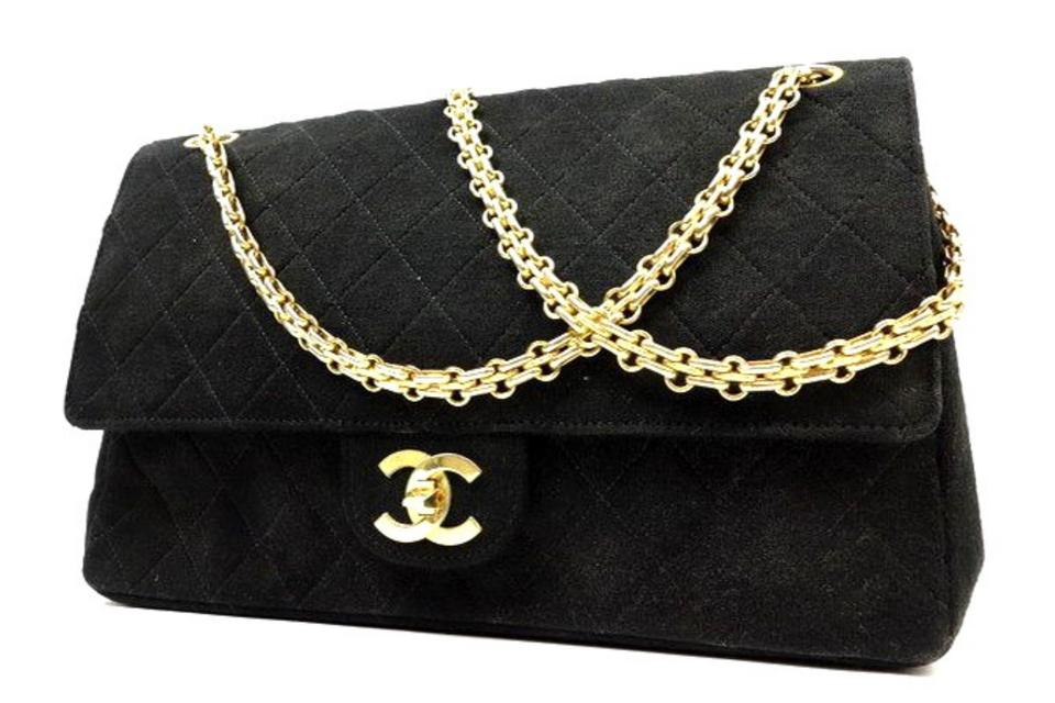 fb67897a5774 Chanel Double Flap Medium Jumbo Canvas Suede Shoulder Bag Image 0 ...