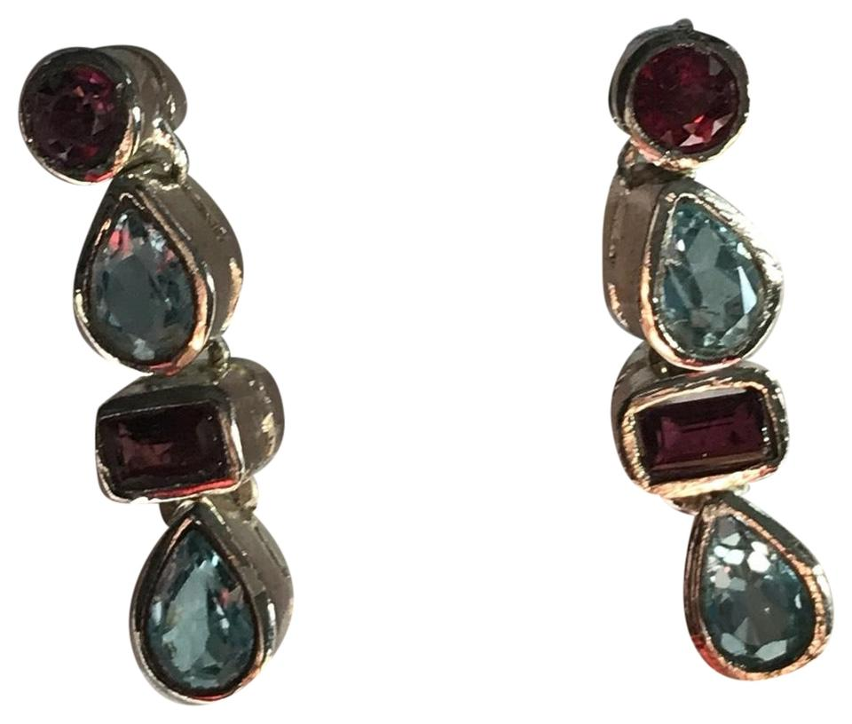 stud plated multi gemstone gem products earrings gold silver sterling