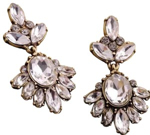 J.Crew Clear White Crystal Petite Floret Flower Stud Earrings