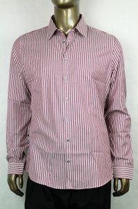 Gucci Pink/Light Purple Men's Slim Stripe Pink/Light 38/15 307648 5012 Shirt