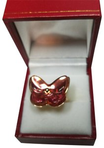 Baccarat BACCARAT JEWELRY PAPILLON BUTTERFLY STERLING SILVER PEACH RING SZ 7
