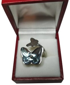 Baccarat BACCARAT Crystal Sterling Silver Butterfly Ring
