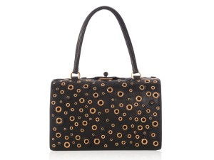 Prada Gold Hardware Grommet Embellished Pr.l1010.06 Top Handle Satchel in Black