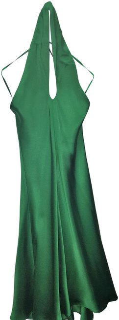 Item - Green Emerald Silk Halter Mid-length Formal Dress Size 0 (XS)