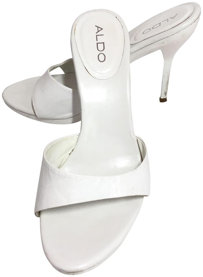 61a065fb8606 ALDO White Heels Brandee Sandals Size US 7 Wide (C