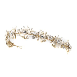 Elegance by Carbonneau Gold Ivory Tiara Hair Accessory