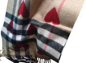 Burberry Burberry Classic Cashmere Scarf in Check and Hearts Parade Red