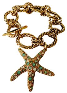 Bella Jack NWOT Starfish Green/White Crystal In Antiqued Gold-Tone Bracelet