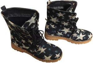 Dirty Laundry Combat Lace Up Rock Stars Distressed Blue Denim Boots