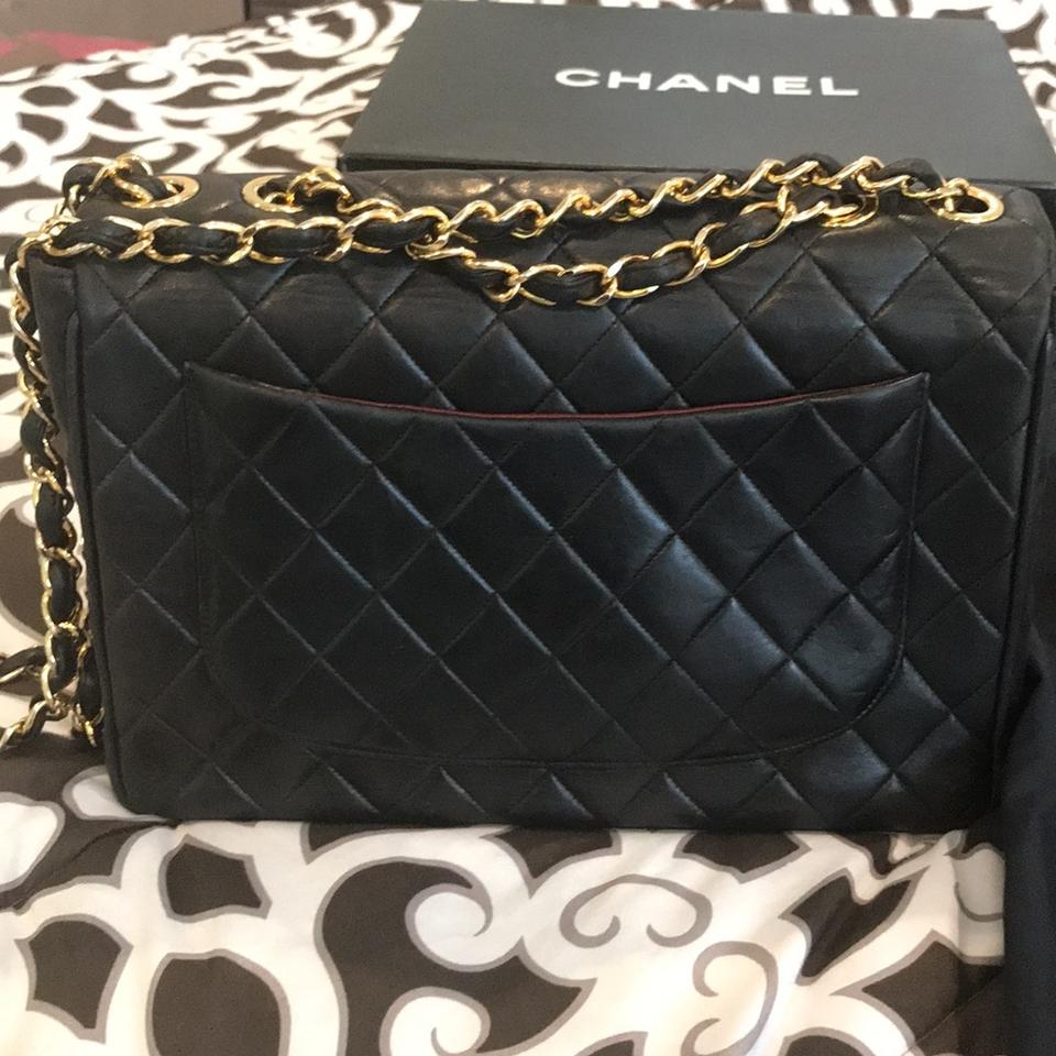 6a7e3a16c833f8 Chanel Classic Flap XL Vintage Black Quilted Lambskin Classic Maxi Jumbo  Leather Shoulder Bag - Tradesy
