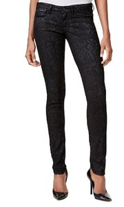 Guess Embroidered Waxed Jeggings Embellished Skinny Jeans-Coated