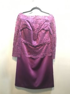 Jasmine Mulberry Marquis Satin/Lace M160009 Formal Bridesmaid/Mob Dress Size 12 (L)