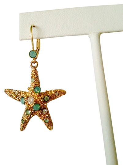 Bella Jack NWOT Starfish Green/White Crystal In Antiqued Gold-Tone Earrings