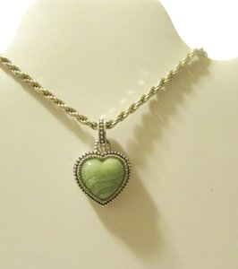 Judith Ripka Judith Ripka .925 Sterling Silver Green Carved Jade Heart Enhancer