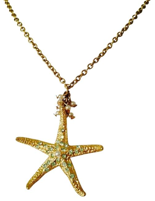 Item - Green/White/Gold Nwot Starfish Crystal & Pearl In Gold-tone Necklace Only Bracelet & Earrings Seperately.
