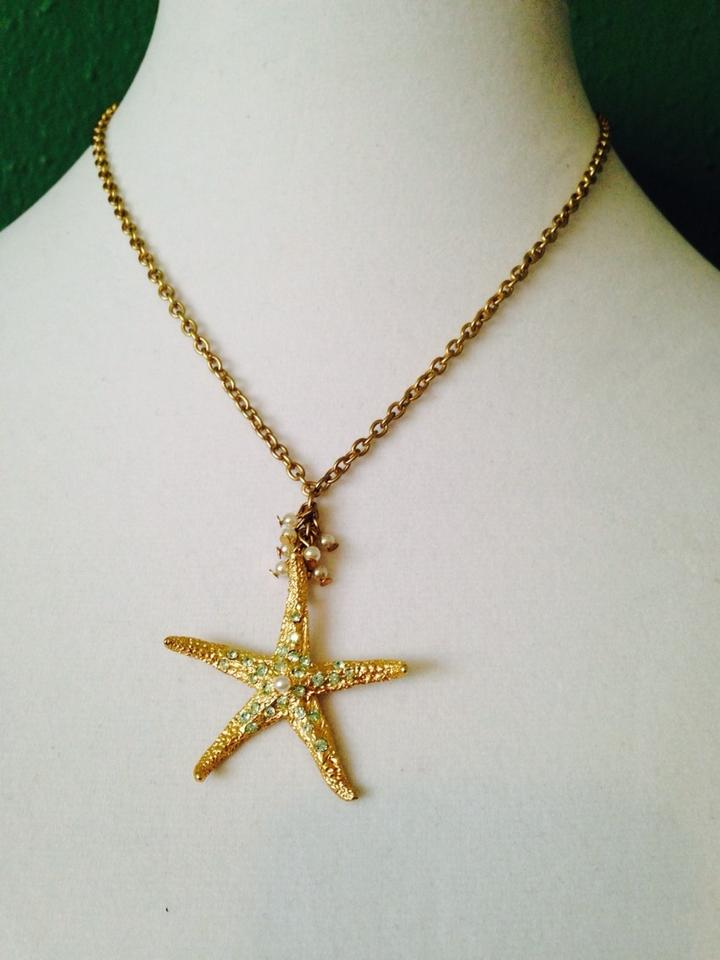 Bella Jack Green/White/Gold Nwot Starfish Crystal & Pearl In Gold ...