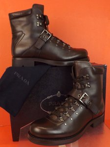 Prada Dark Brown/Moro Leather Belted Buckle Lace Up Shearling Combat Boots 9 Us 10 Shoes