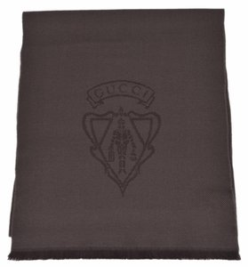Gucci New Gucci Men's 344993 Dark Loden Brown Wool Hysteria Crest Logo Scarf