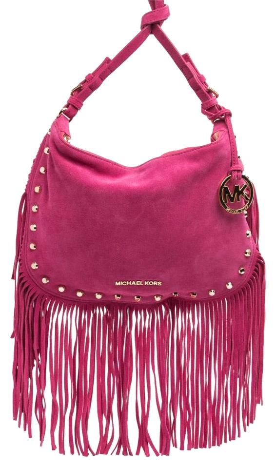 073c328c0600ec MICHAEL Michael Kors 'dakota' Medium Fringe Pink Suede Shoulder Bag ...