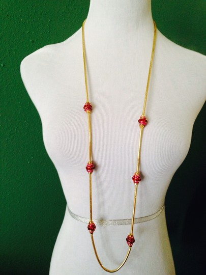 Anne Klein 2-Piece Set NWOT Shades Of Raspberry Crystal Rhondelles In Gold-Tone Snake Chain Long Necklace