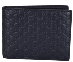 Gucci NEW Gucci Men's 333042 Blue Leather Micro GG Bifold Wallet W/ID case