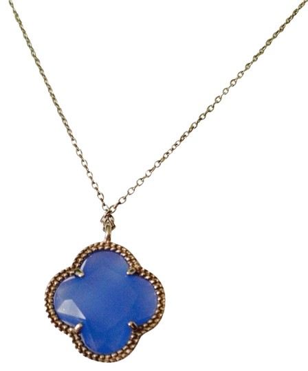 JS Collections NWOT Blue Chalcedony Clover In Sterling Silver Necklace