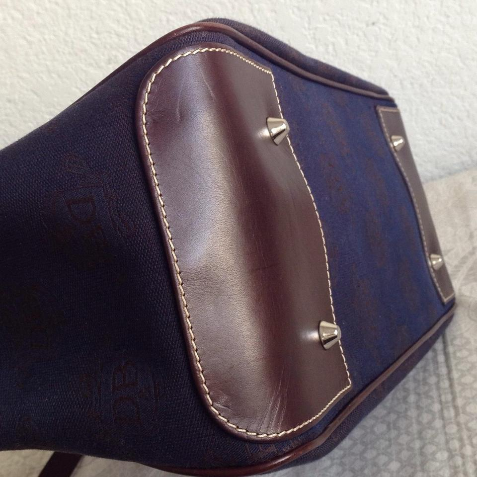 Dooney Amp Bourke Db Navy Brown Canvas And Leather Tote