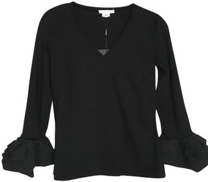 PAULE KA Ruffle Longsleeve V-neck Top Black
