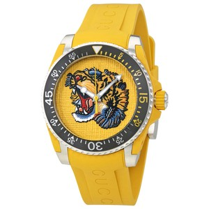 Gucci Yellow Embroidered Tiger Dial Men's Silicone Strap Watch