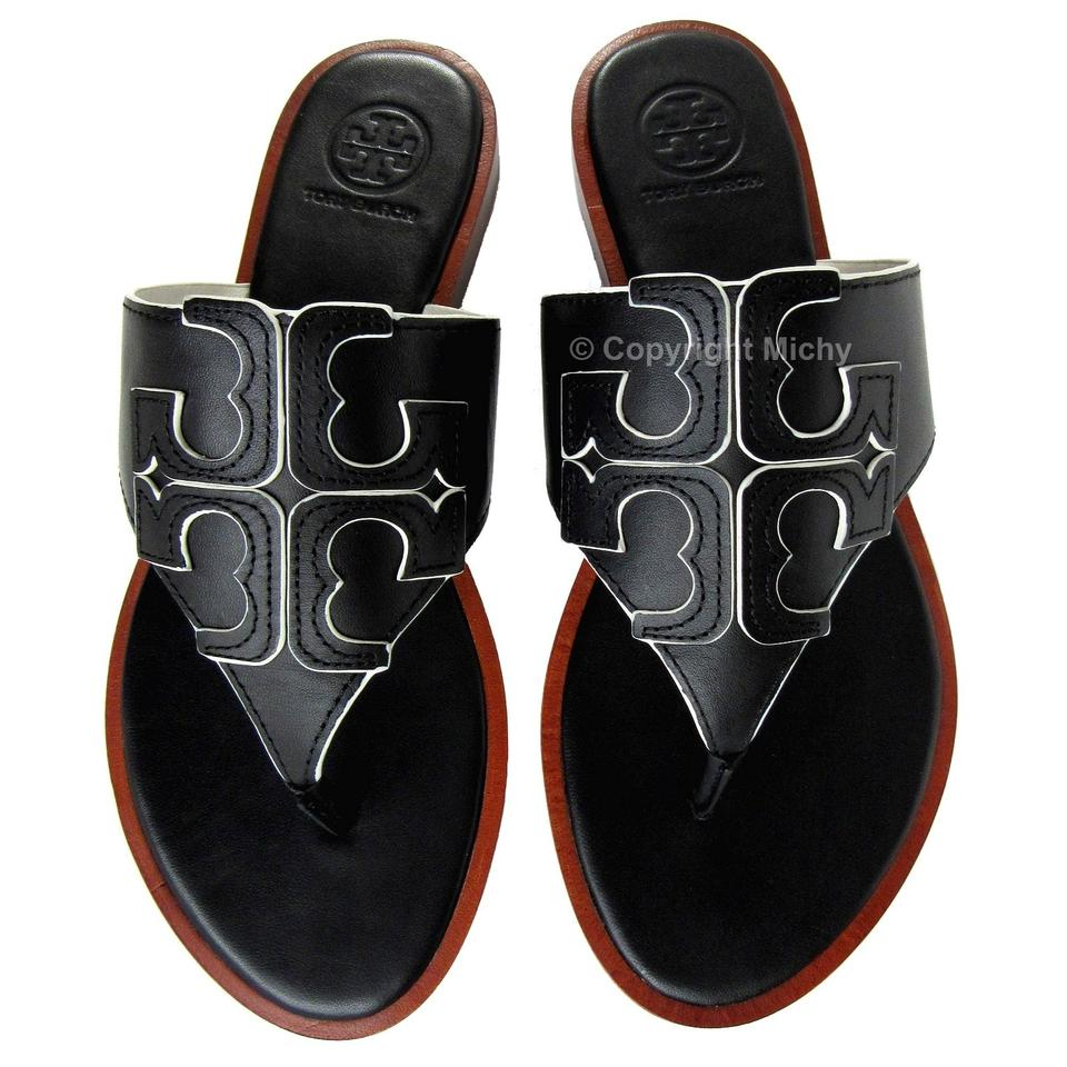 27bd86ba9321c Tory Burch Black   Ivory Jamie Full Logo Edge Color Veg Nappa Leather  Sandals