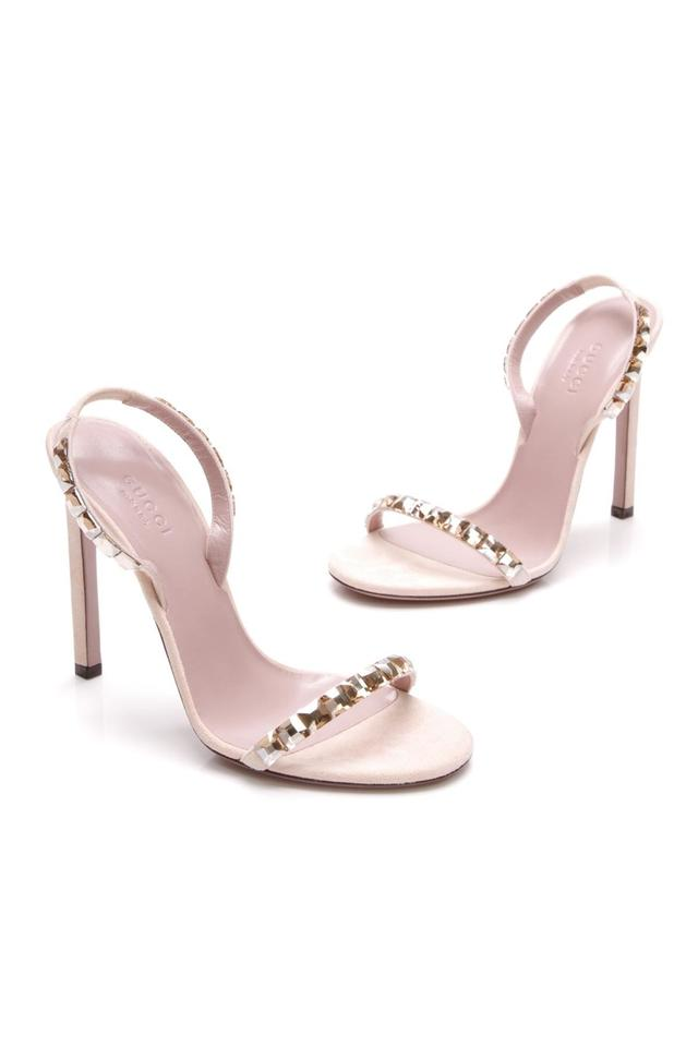 16fb60c294c Gucci Blush (Nude) Suede Mallory Crystal Embellished Sandals Size US ...