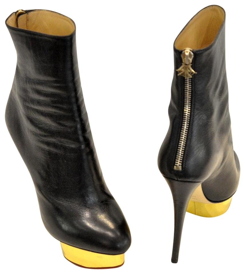 5339b0321d3 Charlotte Olympia Black Lucinda Leather Ankle Boots Booties Size EU ...