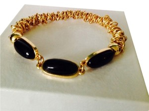 NWOT Black Stone in Gold-Tone Stretch Bracelet