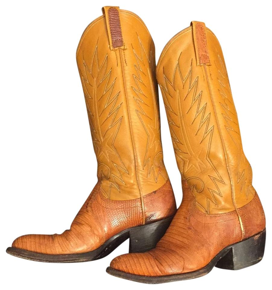 """85bba527ab1 Dan Post Boots Rust- Looking But Called Exotic """"honey Gold"""" Lizard Skin-  Cowgirl Boot/Bootie Boots/Booties Size US 5.5 Regular (M, B) 85% off ..."""