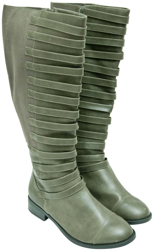be495e21173 Torrid Olive Green Strappy Boots Booties Size US 11 Wide (C