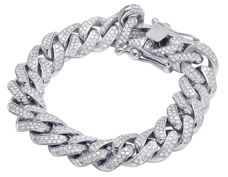 08d54ed9d1e Jewelry Unlimited Men s 14K White Gold Diamond 15MM Miami Cuban Link  Bracelet 10 ...