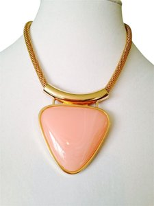 Other NWOT Peach Triangle Pendant On Gold-Tone Mesh Chain Necklace