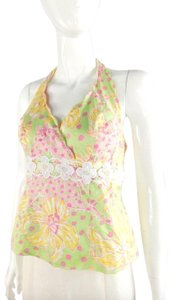 Lilly Pulitzer Halter Cotton Floral Top green