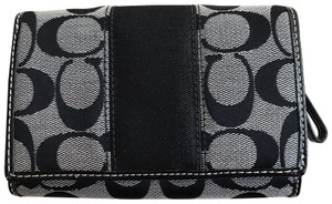 Coach Coach Signature Leather and Jacquard Co pact Clutch Wallet
